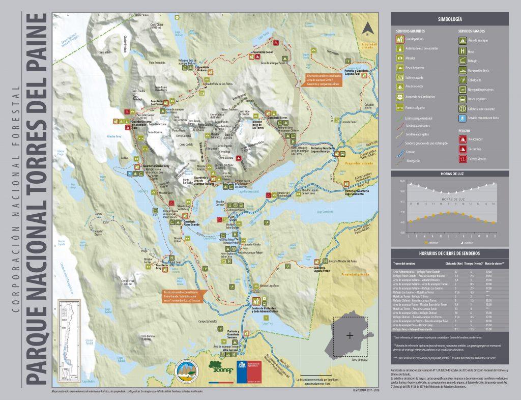 Karte des Torres del Paine Nationalparks