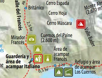 Ausschnitt der Torres del Paine Park-Karte mit der Route von Tag 3.