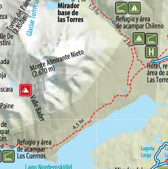 Karte des Torres del Paine Nationalparks mit der Strecke von Tag 4.